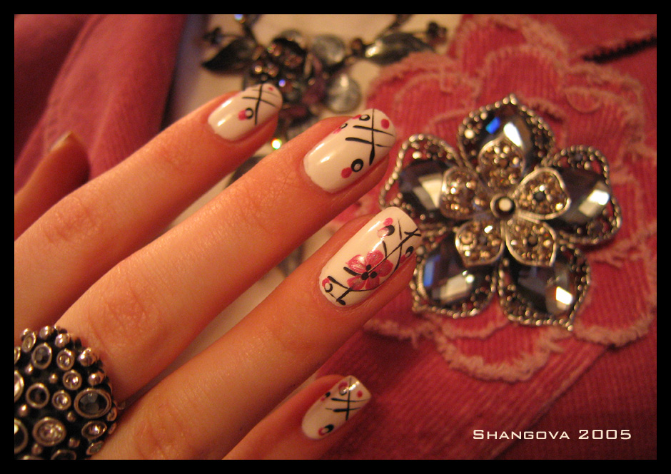 The Charming Long flower nail designs Photo