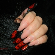 Crimson Red Rose Nail art
