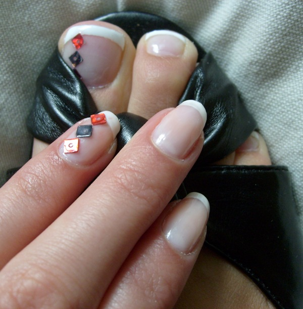 Thebloodyredapple Simple Diamond Nails And Toes Design