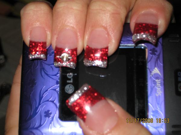 Colorful Nails Designs Tips Glitter Red Tips Powder Nail