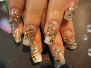 acrylic nail art with gold jewelry  nail art design from