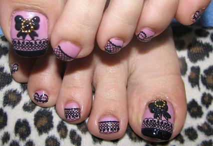 Black Butterfly Nail Art For Toes