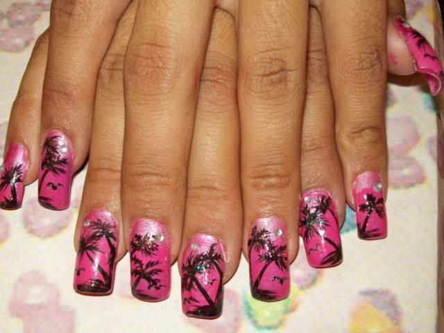 Free Hand Palm Trees Nail Art Pattern