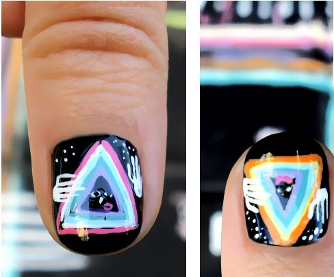 Scary Alien Nail Art Design
