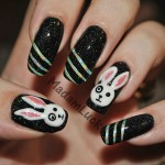 Black Acrylic with Bunny Nail Art Design