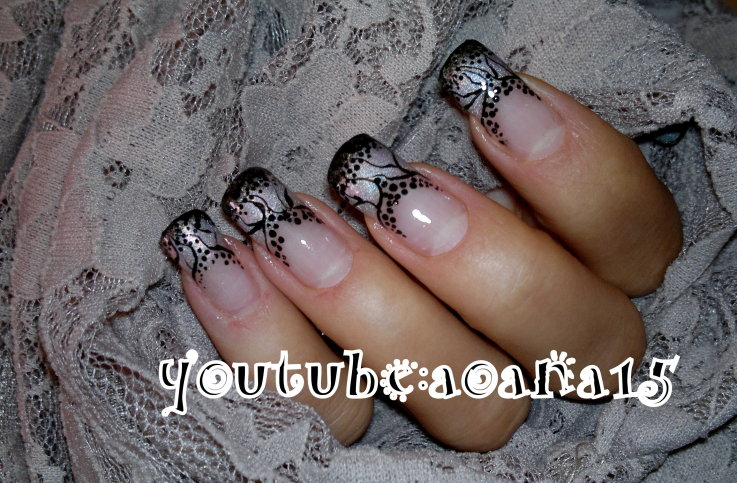 black and gray nail art design