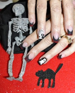 Halloween Skeleton-Cat-Ghost Nail Art