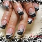Cute Seasonal Black Tips Nail Art