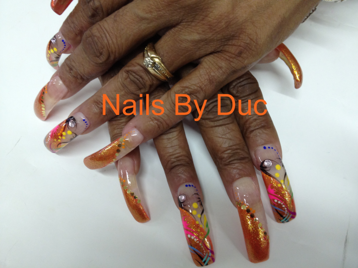 Freehand Design on Long Acrylic Nails - Nail Art Design From