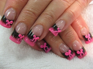 Black and Pink 3D Bow Nail Design