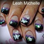 Glittery Butterfly Nail Art Design