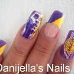 Lakers Basketball Nail Art Design