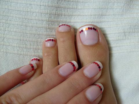 Cute French Manicure with Glitter