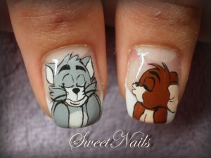 Funny Cartoon Tom and Jerry Nail Art