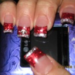 Glitter Red Tips Powder Nail Design