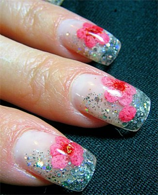 Pink Flower On Nail Tips