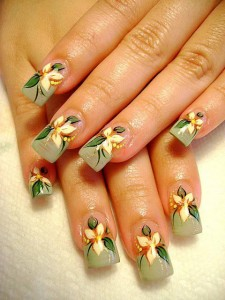 Free Hand Drawing Nail Design