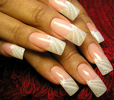 Beautiful airbrush Nail design – Shooting Stars