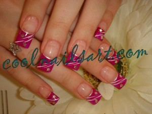 Glitter Lines and Stars Nail Design
