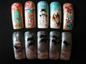 Christmas Airbrush Nail Design – Snow Man