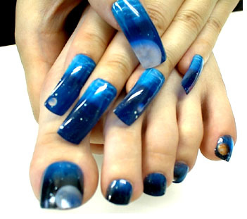 Mid Night Blue Nail Art