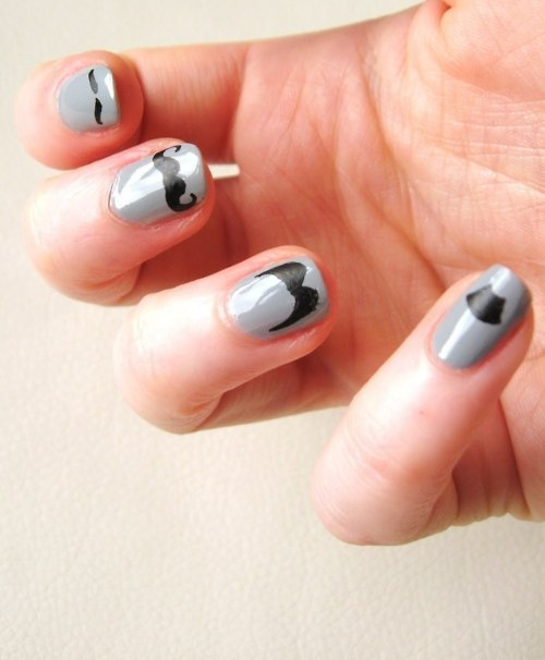 Cute Moustache Nail Art Design