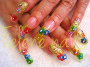 Gold and Colorful Flowers Nail Art