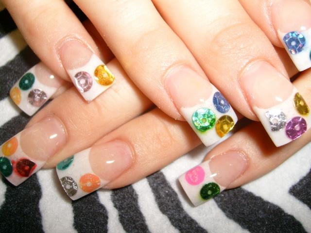 Gems in French White Tip Nails