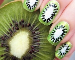 Freehand Kiwi Fruit Nail Art