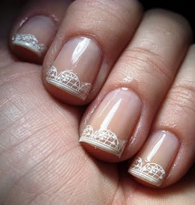 Lace Tip Manicure Nail Art Design