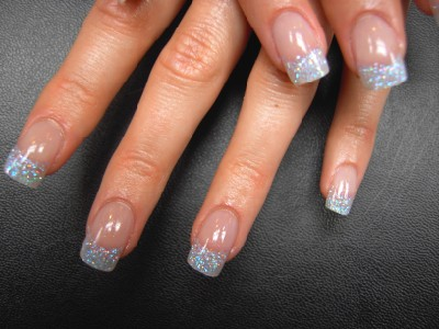 Silver Glitter Tip Nails
