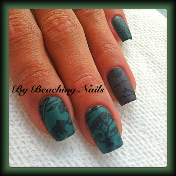 Nail Designs with Cute Animals in the Jungle