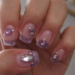 Purple Diamond Nail Art