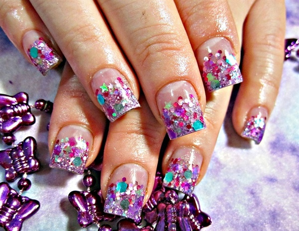 Shiny Party Purple Nail Art