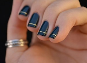 Simple Black Nail Art With Gold ring