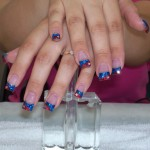 Red and Blue Stars Nail Design