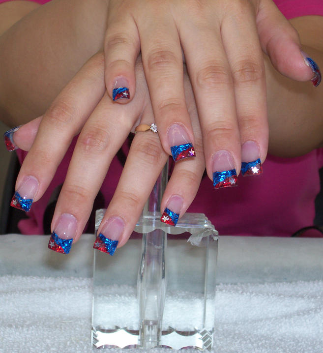 Red and Blue Stars Nail Design :: Nail Art Design From CoolNailsArt