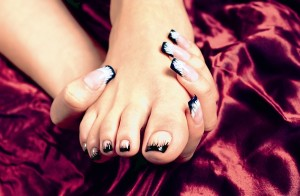 Black French Tip Fullset Nail Art