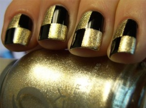 Gold Checker Nail Art