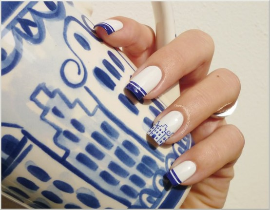 Cute Blue House Nail Art