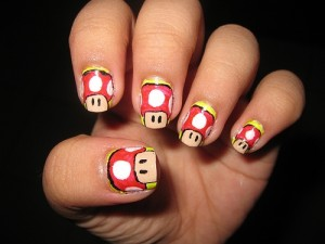 Classic Mario Game Nail Design