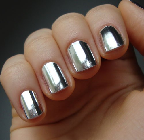 Silver Foil Nail Art :: Nail Art Design From CoolNailsArt