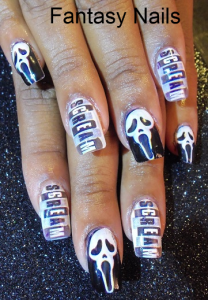 Scary ghost Screaming Nail Art