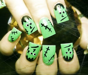 Frankenstein Halloween Nail Art