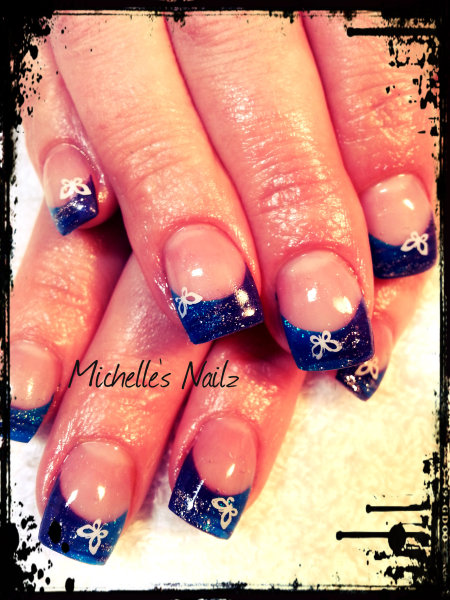 White butterfly on Blue Tips Nai Art