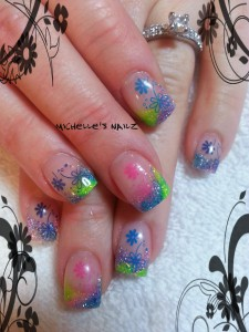 Flashy Spring Time Nail Art