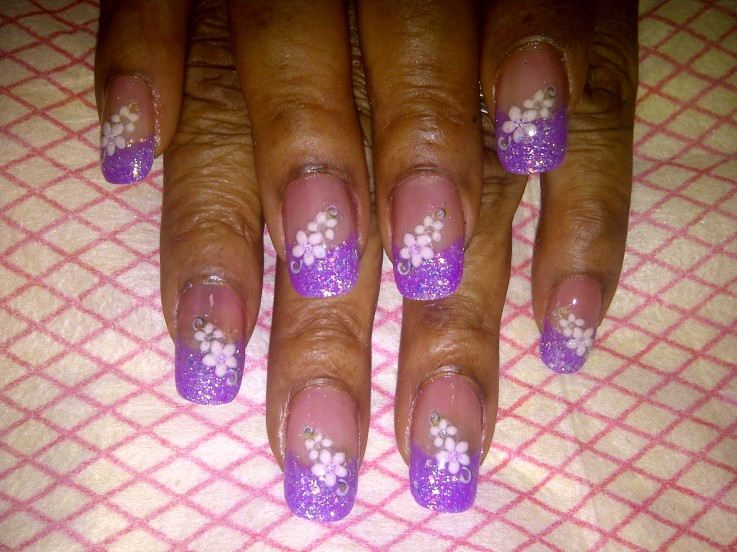 3D purple Nail Design
