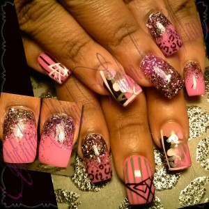 Abstract Designs On Pink Nails