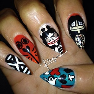 Cartoony Characters Nail Art