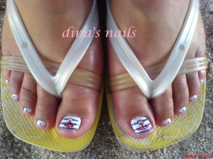 Beach Theme Pedicure Design